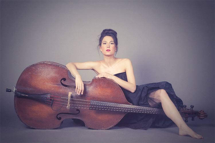 Brandi Disterheft – 'Painting' Upright Bass on a Blue Canvas